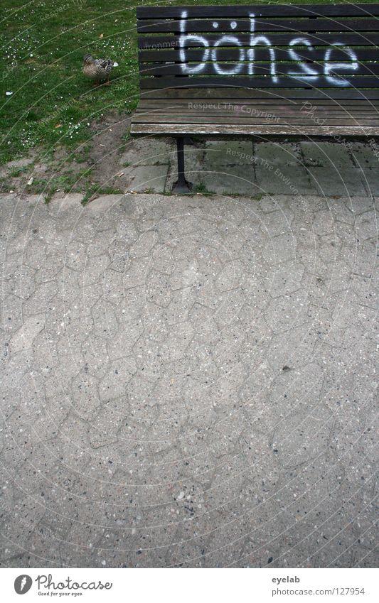 Rechtschreibreform böse Parkbank Bürgersteig Holz Stahl Beton Schmiererei Vandalismus Information Stil Text Typographie falsch Fehler Wort weiß Spray Tagger
