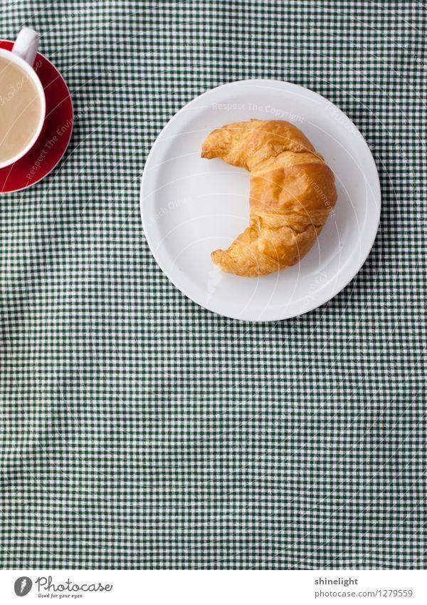 croissant love grün weiß Essen Lebensmittel Ernährung Getränk genießen Kaffee Frühstück Appetit & Hunger Geschirr Tasse Teller Mahlzeit kariert Tischwäsche