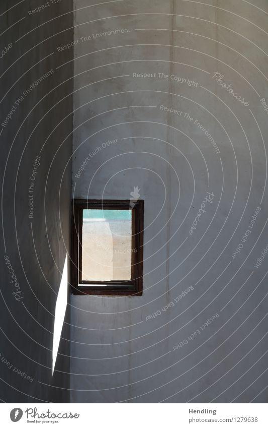 Licht Fenster Fes Ferne Putz Holz Blick Glas Schatten unregelmäßig Oberfläche Mauer Architektur Haus Marokko Afrika weiß braun Ecke Farbfoto mehrfarbig