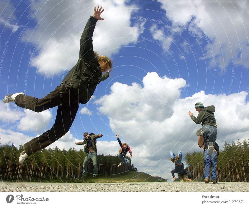 on air Wiese Panorama (Aussicht) Wolken Ilmenau Frühling blenden Idylle Jugendliche himmlisch schön wach Übermut Aktion Luft gefroren Gras grün Thüringen Physik