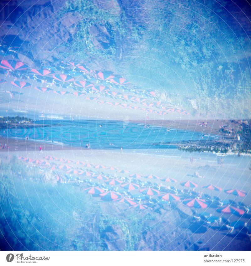 Oben oder Unten Mensch Himmel Sonne Meer blau Sommer Strand Ferien & Urlaub & Reisen ruhig oben Sand leer Perspektive Aussicht unten Quadrat