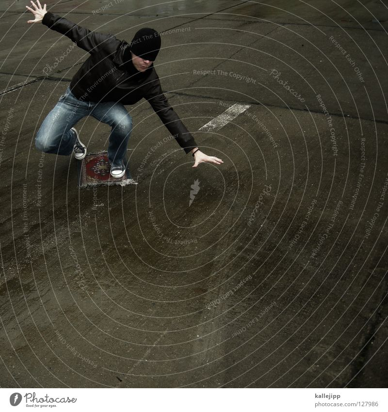 auf dem teppich geblieben 1001 Märchen Fälschung Luftverkehr Flugzeug Pilot Parkplatz Beton Mann Lifestyle Freak Surfer Tanzfläche Fußmatte