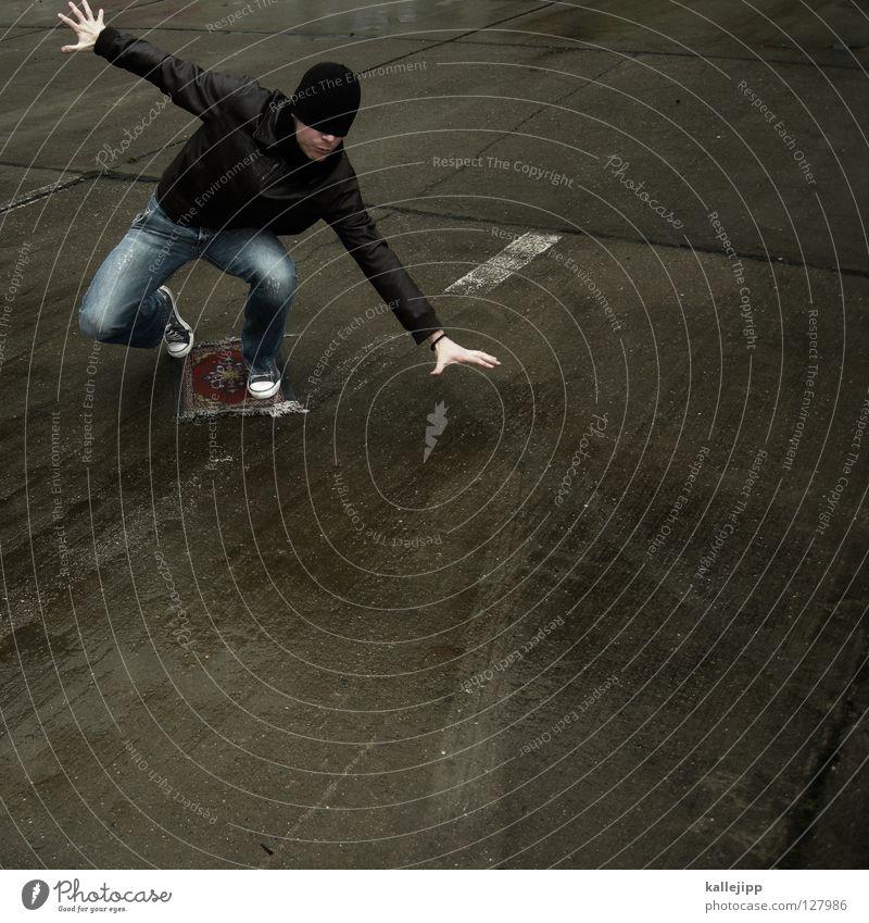 auf dem teppich geblieben Mensch Mann Freude Spielen Lifestyle Luftverkehr Geschwindigkeit Zukunft Beton Flugzeug Vergangenheit Symbole & Metaphern Asien Amerika Kurve Märchen
