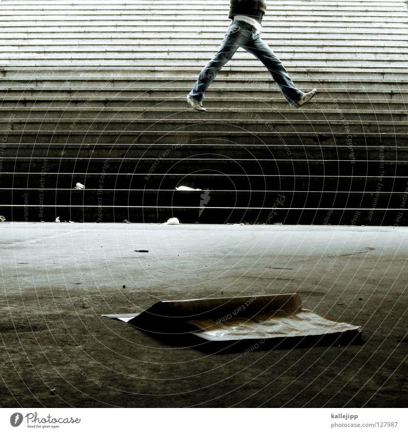 never walk alone Jugendliche Freude Architektur springen fliegen Treppe Buch hoch Erfolg lernen Lifestyle lesen Bildung fallen U-Bahn Karriere