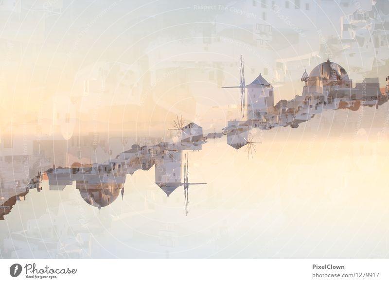 Santorin Himmel Ferien & Urlaub & Reisen blau schön Sommer Wasser Sonne Erholung Meer Landschaft Architektur Gefühle Schwimmen & Baden Lifestyle orange träumen