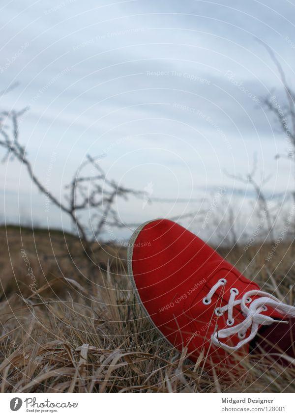 Rot im Gras 2 Himmel blau weiß rot Winter Schuhe liegen Feld Pause Turnschuh verloren Schuhbänder