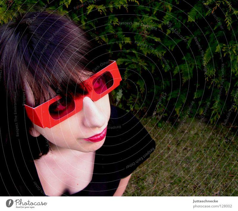 Simple Girl Frau Jugendliche rot rosa Brille Sonnenbrille Lippenstift Porträt rückwärts Erfolg Club Achziger 80 eighties 1980 Coolness lustig rosarote Brille