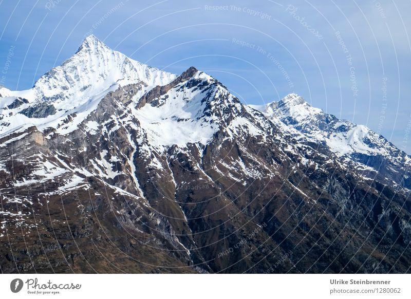 Monte Rosa Massiv Himmel Natur Ferien & Urlaub & Reisen blau weiß Landschaft Einsamkeit Berge u. Gebirge kalt Umwelt Frühling Schnee natürlich Freiheit glänzend