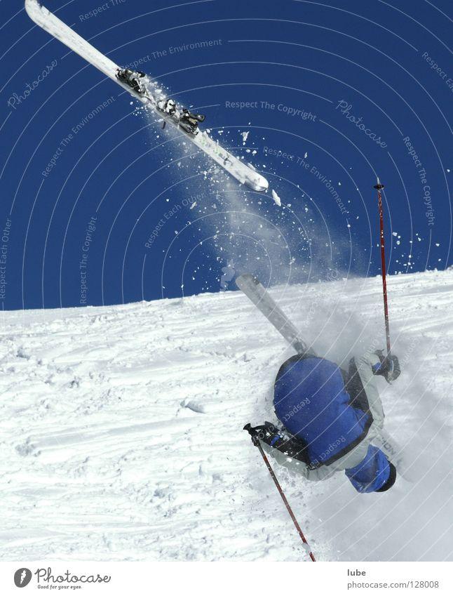 Sturz Winter Schnee springen Skifahren Sturz Wintersport Extremsport