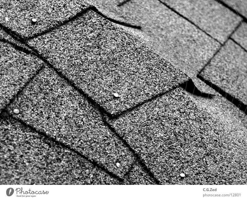 Dachbehau Teerpappe Dachziegel Nagel Architektur Schwarzweißfoto