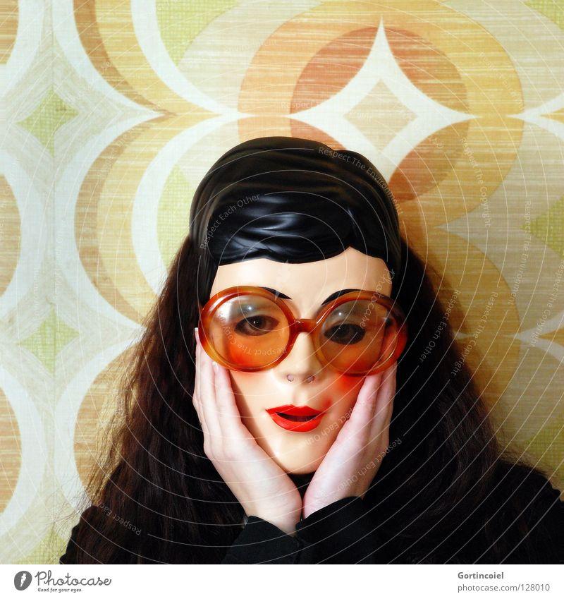 Am I Pretty? Frau Mensch Hand schön Gesicht Haare & Frisuren Kopf Erwachsene verrückt retro Brille Maske Tapete obskur bizarr Sonnenbrille