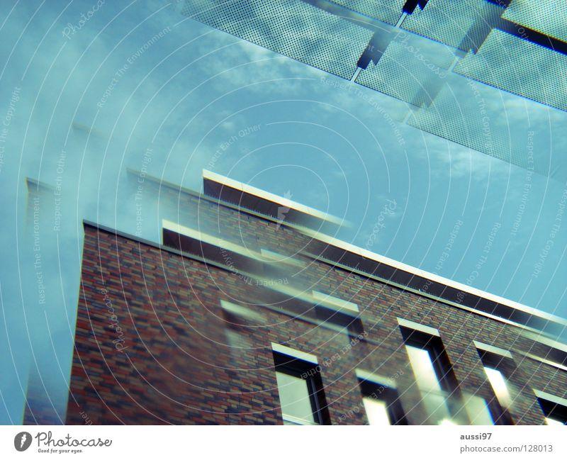 prismologisch Stadt Hochhaus modern Dach Etage Surrealismus seltsam Doppelbelichtung Smog Penthouse Prisma Vordach
