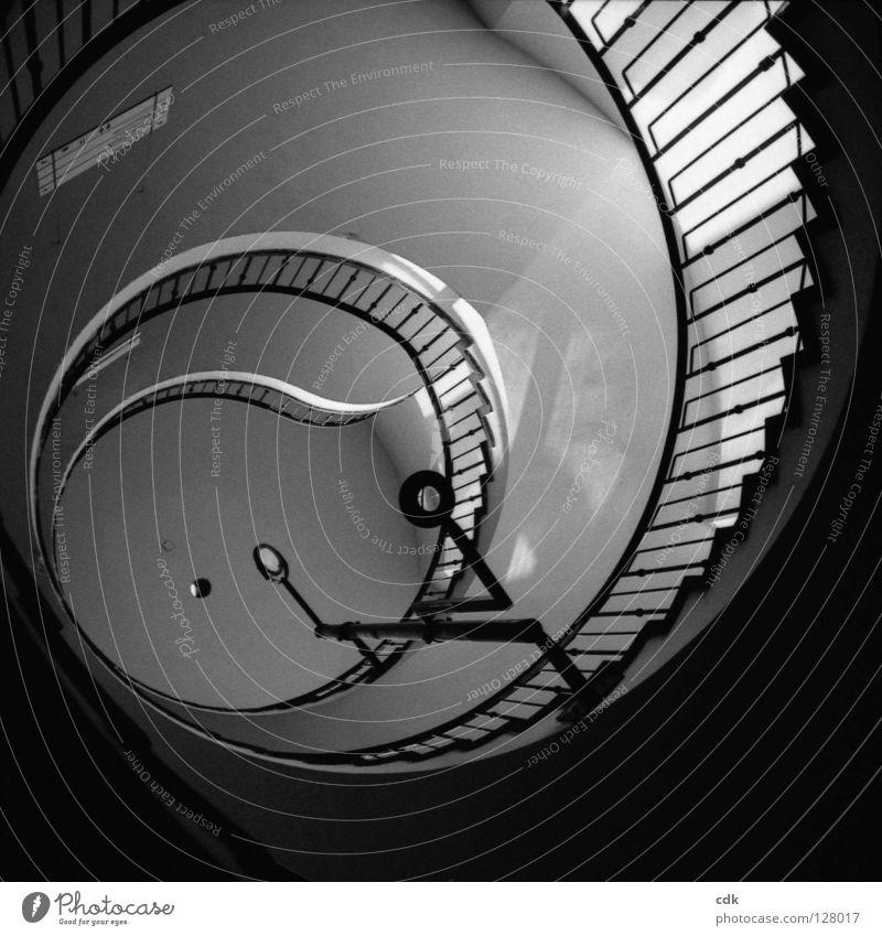 Innenansichten III Treppenhaus Treppengeländer Treppenabsatz Flur Wand Beton Eisen Stahl Etage rein einfach unpersönlich rund geschwungen gekrümmt Kurve Muster