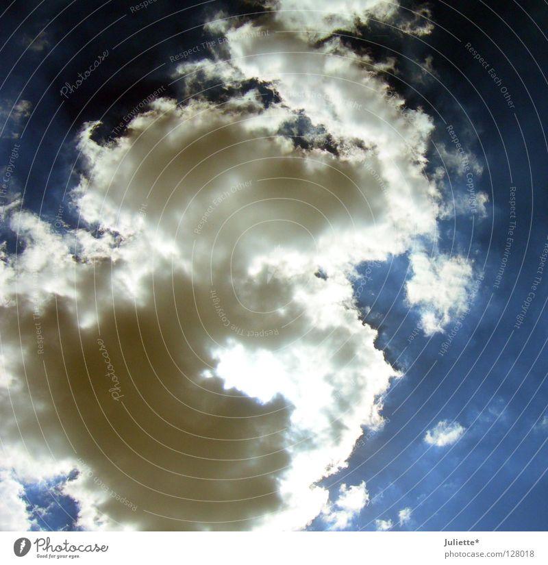 Gewitter naht! Himmel weiß blau Wolken dunkel Regen nass Luftverkehr Macht Einbruch Maria Himmelfahrt