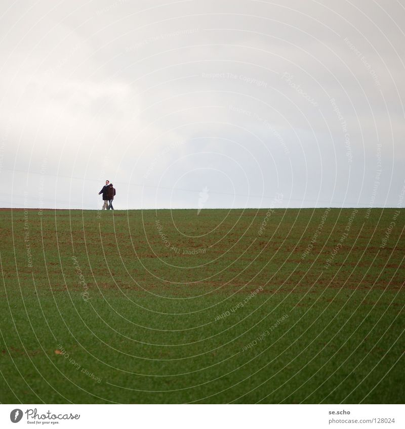 Horizont II Himmel grün Frühling grau Paar Linie Feld wandern Erde paarweise Spaziergang Grenze