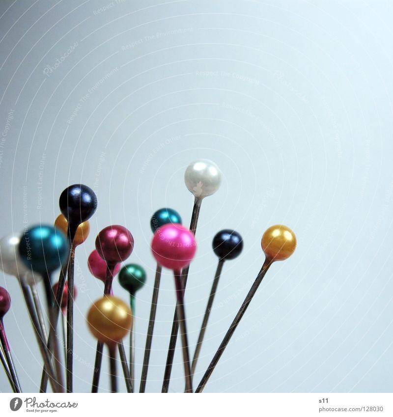 SteckNadeln II weiß grün blau gelb Farbe Kunst Freizeit & Hobby rosa mehrere Stoff rund Spitze viele Kugel durcheinander Textilien