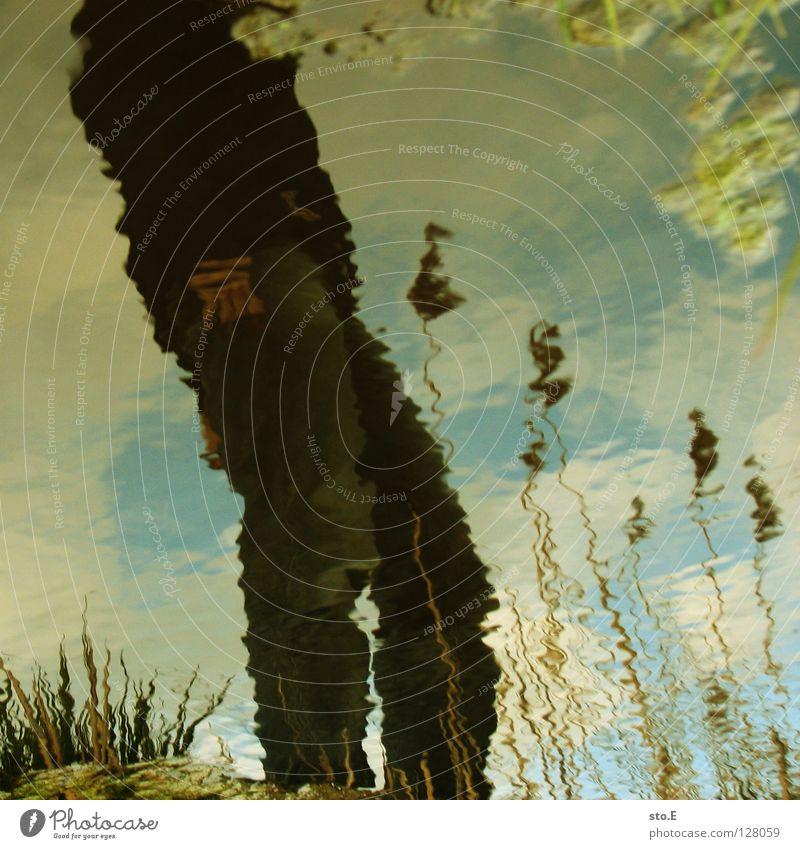 verschwommen Mann Kerl Baum Pflanze Reflexion & Spiegelung Unschärfe Wellen unruhig Wind Schilfrohr Bach Osten fließen wellig diagonal Stimmung Wolken