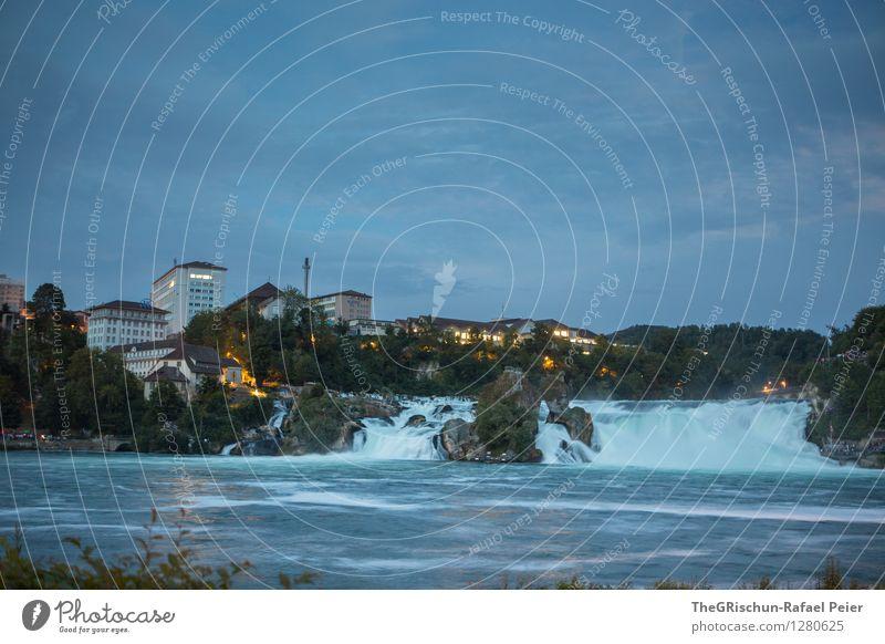 Rheinfall Umwelt Natur Landschaft Wasser Wassertropfen blau braun gelb grau grün schwarz Dämmerung Wasserfall Haus Reflexion & Spiegelung eindrücklich schön
