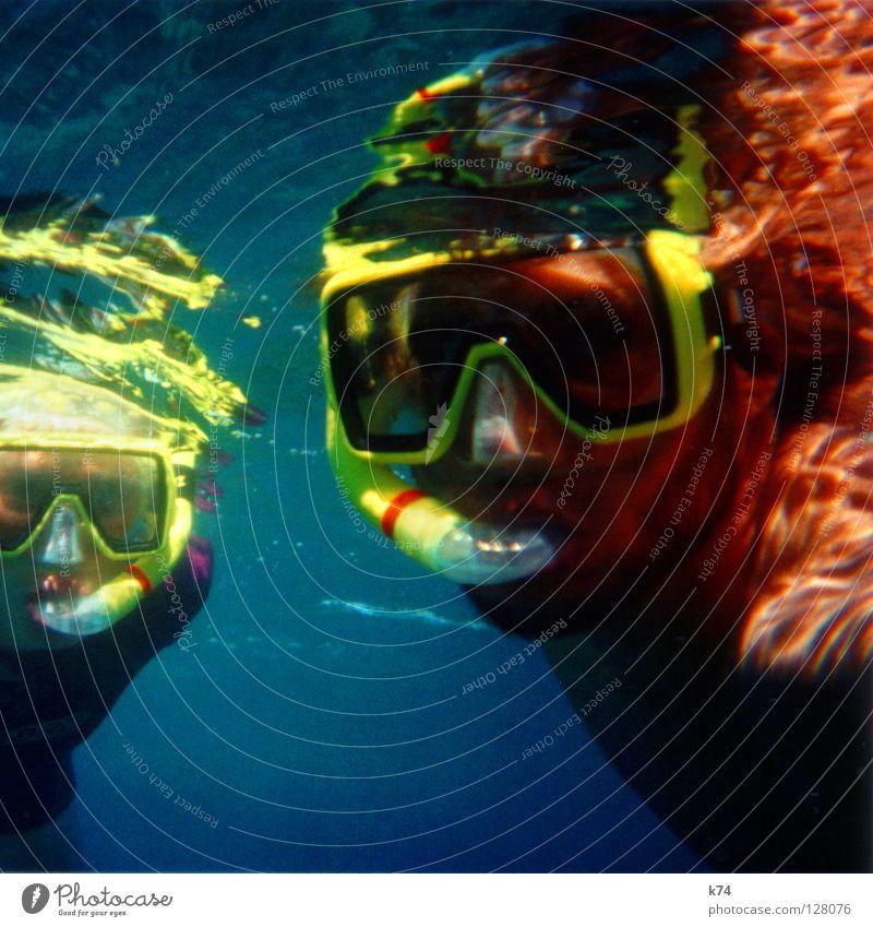 LIFE AQUATIC Ozeanograph Taucher Ausflug Taucherbrille Tauchgerät Schnorcheln Reflexion & Spiegelung Licht gelb Mann Frau Flüssigkeit Meer U-Boot Wissenschaften