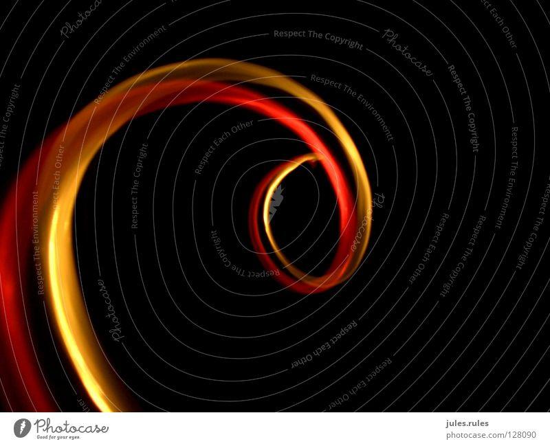 Spirale rot gelb abstrakt Licht Laser Fotolabor Physik Schraube Verwirbelung Wärme Kreis