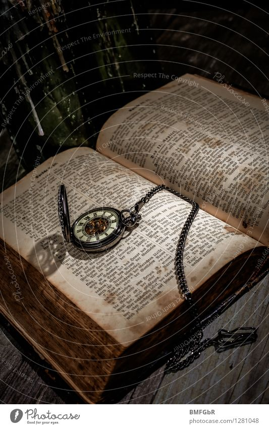 Dreckige Zeiten Stil Leben Halloween dunkel gruselig retro schwarz Schüchternheit Fantasygeschichte Grunge altehrwürdig Wissen Flasche Uhr Ewigkeit Uhrkette