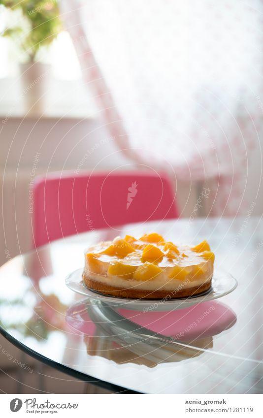 Kaffeekuchen Lebensmittel Frucht Teigwaren Backwaren Kuchen Dessert Süßwaren Ernährung Kaffeetrinken Festessen Teller gelb rosa süß lecker zart Geburtstag