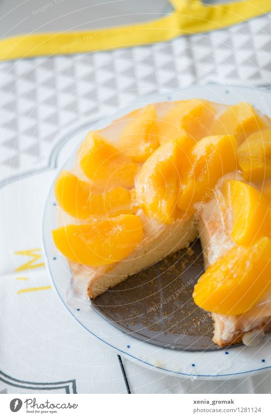 Torte weiß Freude gelb Essen Lebensmittel Frucht frisch ästhetisch Ernährung süß retro lecker dünn Süßwaren Bioprodukte Duft