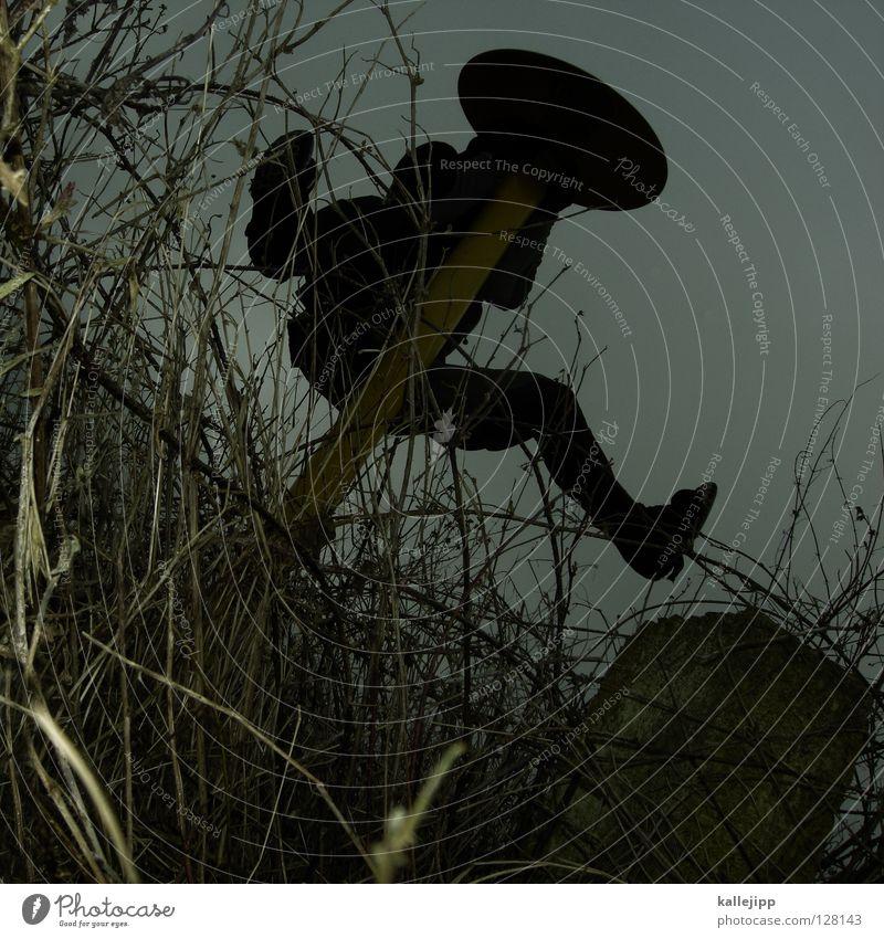 desperado Mensch Himmel Hand Freude schwarz gelb springen Wege & Pfade Lampe Kunst Arme Schilder & Markierungen Erfolg Suche Streifen Hinweisschild
