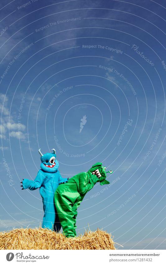 Bück dich! blau grün Freude Kunst verrückt ästhetisch Lebewesen Gesäß Kunstwerk Sexualität Monster spaßig Voyeurismus Spaßvogel Pornographie Außerirdischer