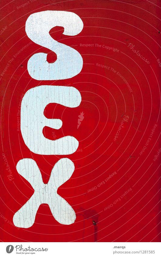 SEX weiß rot Schilder & Markierungen Schriftzeichen Sex einfach Sexualität Geschlecht