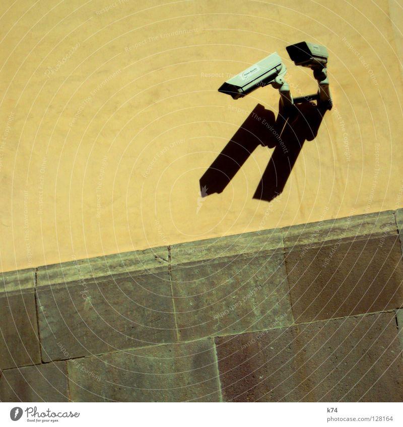 KAMERAS Wand Mauer 2 Angst gefährlich Sicherheit Technik & Technologie Fotokamera Kontrolle Doppelbelichtung Respekt Panik Video Öffentlich Überwachung Zwilling