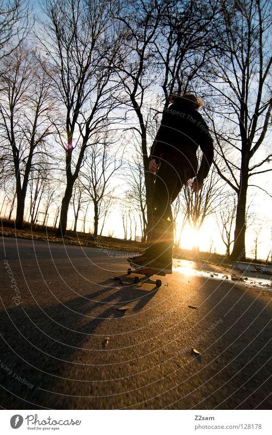 feierabend Mensch Natur Jugendliche Himmel Baum Sonne blau schwarz gelb Sport Stil Bewegung Haare & Frisuren Wärme Zufriedenheit Beton