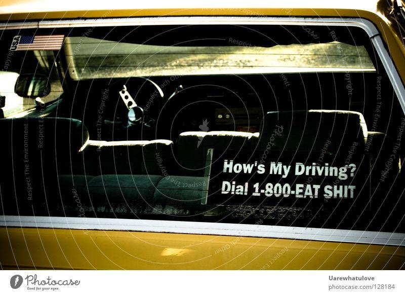How's My Driving? Dial 1-800-Eat Shit Amerika Taxi fahren Rückseite Kofferraum Rücksitz Redewendung Etikett Autofahren Verkehr Telefongespräch Ziffern & Zahlen