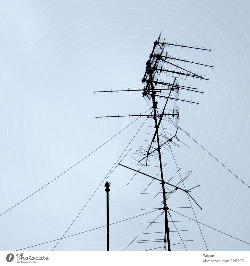 Freilichtmuseum Fernsehen Kontakt historisch Langeweile Radio Antenne Signal veraltet graue Wolken Digital-Fernsehen Dachantenne