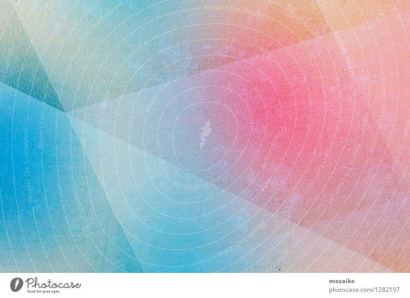 bunter abstrakter Hintergrund Stil Design Dekoration & Verzierung Kunst Papier Zettel Streifen ästhetisch hell modern retro blau rosa Farbe Entwurf Dreieck
