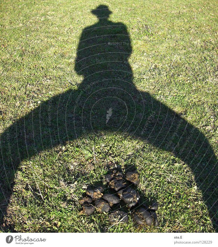 da sch*** ich drauf Mensch Mann Natur Sonne Sommer Freude Wiese Ordnung maskulin Bodenbelag Rasen Kot Hut Mütze Schönes Wetter Typ