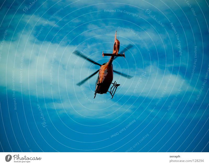 Hubschrauber Himmel Wolken fliegen Luft Verkehr Luftverkehr Güterverkehr & Logistik Tragfläche Krankheit Arzt fliegend Personenverkehr Rettung Erste Hilfe