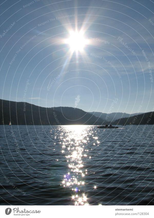 Sonnenstern Wasser Ferien & Urlaub & Reisen Erholung See Landschaft Wasserfahrzeug glänzend