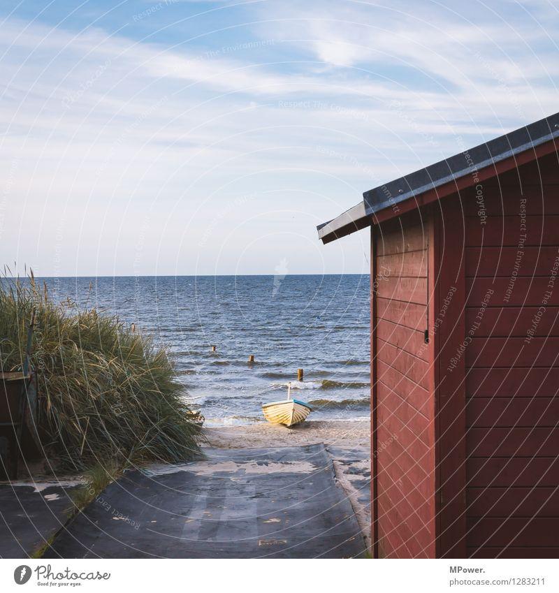 fischersfritzesfischershus Umwelt Natur Landschaft Himmel Horizont Sommer Hafen Bauwerk Fischerboot Ostsee Strand Düne Wellen Fischerdorf Holzhaus rot Meer