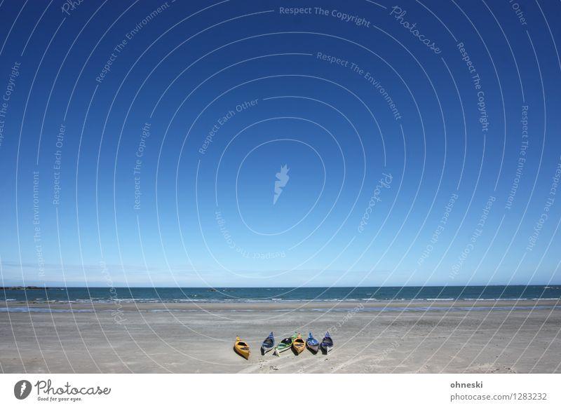 Good Morning Wassersport Kanusport Kanutour Wolkenloser Himmel Sommer Schönes Wetter Küste Strand Meer blau Freiheit Freizeit & Hobby Freude