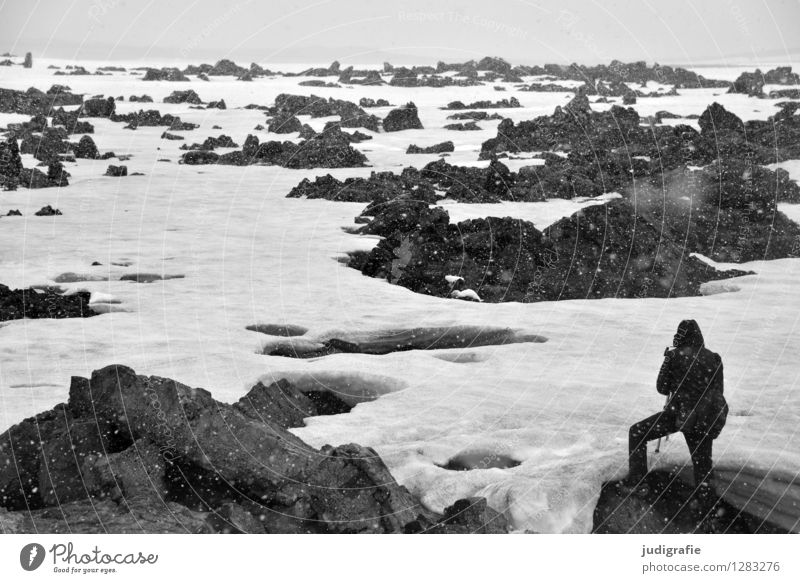 Island Mensch maskulin Mann Erwachsene 1 Umwelt Natur Landschaft Urelemente Winter Klima Wetter Sturm Schnee Schneefall Felsen stehen außergewöhnlich bedrohlich