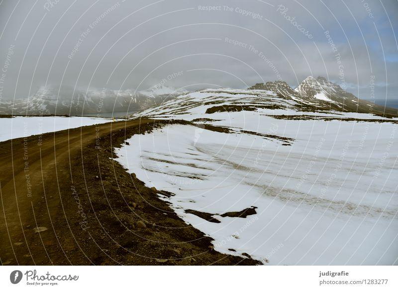 Island Umwelt Natur Landschaft Klima Wetter Eis Frost Berge u. Gebirge Schneebedeckte Gipfel Küste Fjord Menschenleer Verkehrswege Straße Wege & Pfade kalt