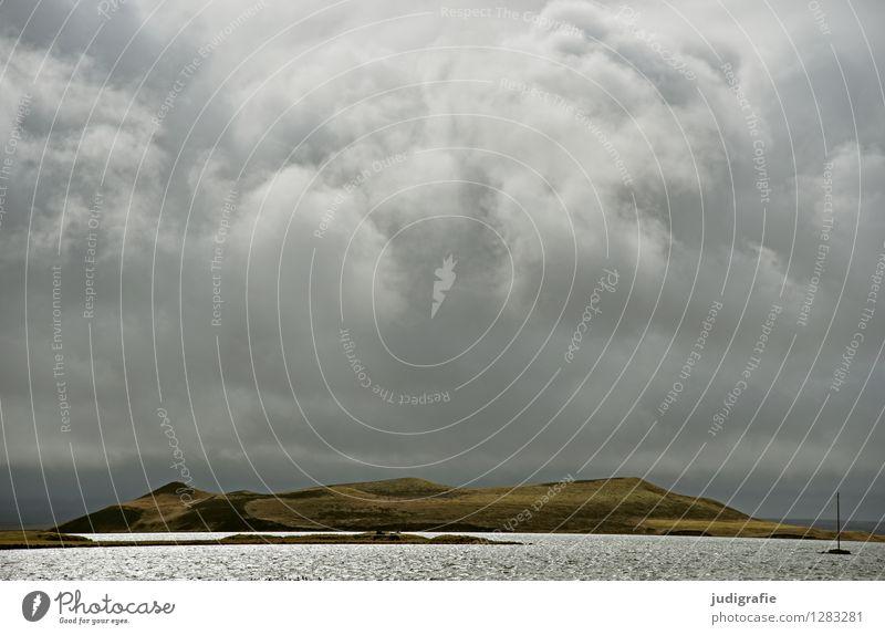 Island Umwelt Natur Landschaft Urelemente Wasser Himmel Wolken Klima Wetter schlechtes Wetter Unwetter Vulkan Seeufer Myvatn See außergewöhnlich bedrohlich