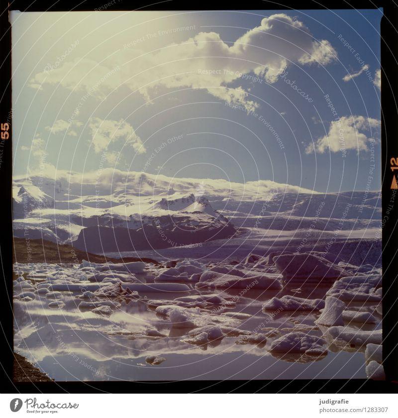 Island Umwelt Natur Landschaft Urelemente Wasser Himmel Wolken Klima Klimawandel Wetter Schönes Wetter Eis Frost Gletscher Seeufer Fjallsarlon außergewöhnlich