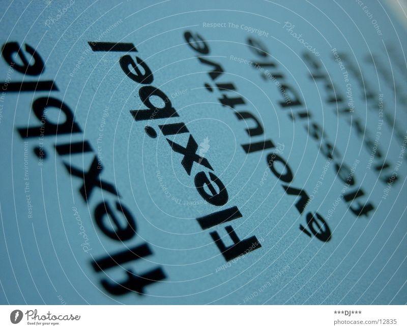 Flexibel blau Buchstaben Amerika Wort beweglich Sprache Fremdsprache Text Fototechnik
