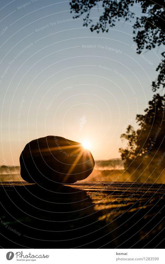 0815 AST | Morgenzauber Umwelt Natur Wolkenloser Himmel Sonne Sonnenaufgang Sonnenuntergang Sonnenlicht Sommer Schönes Wetter Stein Holz Kraft ruhig Beleuchtung