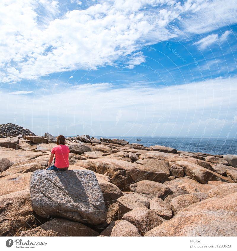 Rocks at Rockport Ferien & Urlaub & Reisen Tourismus Ferne Strand Mensch feminin 1 Umwelt Natur Landschaft Urelemente Erde Wasser Himmel Wolken Sonne Sommer