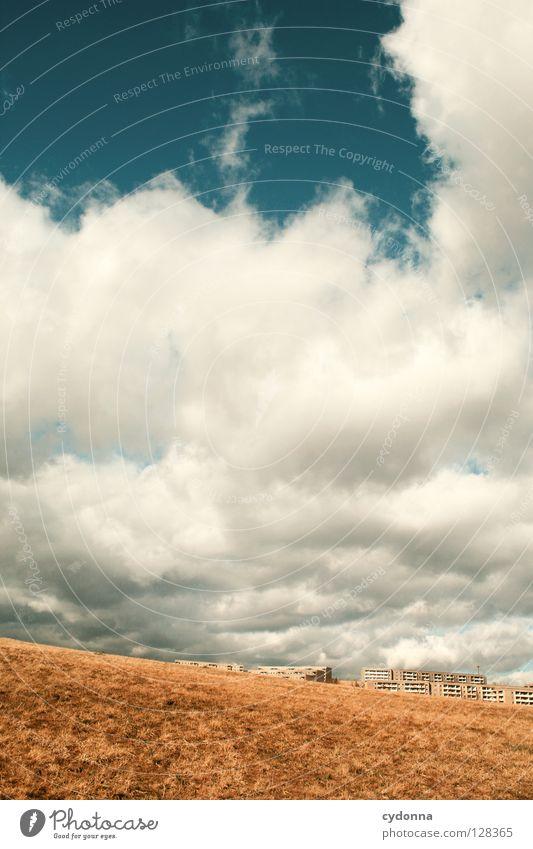 Neue Welten Natur Himmel Haus Wolken gelb Ferne Leben Wiese Bewegung Freiheit Landschaft Luft Feld warten klein gehen