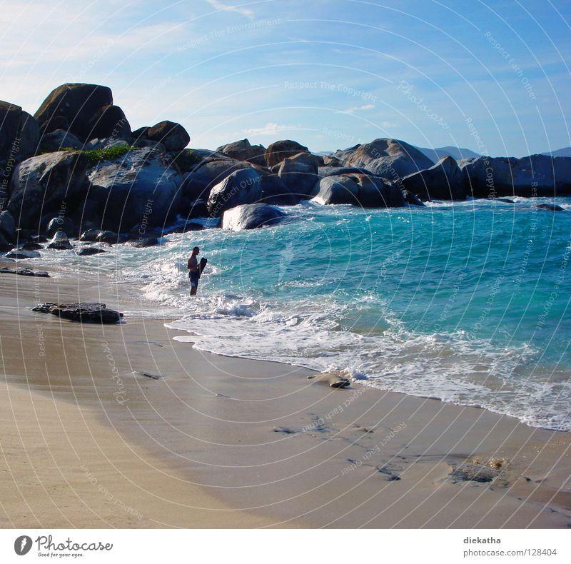 Perfekte Welle? Mensch Mann blau Wasser Ferien & Urlaub & Reisen Meer Strand Erholung Berge u. Gebirge Sand Stein Wetter Wellen Wind Angst Felsen