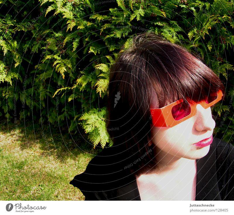 Wer- hat an der Uhr gedreht.... Frau Jugendliche rot rosa Brille Sonnenbrille Lippenstift Porträt rückwärts Erfolg Achziger 80 eighties 1980 Coolness lustig